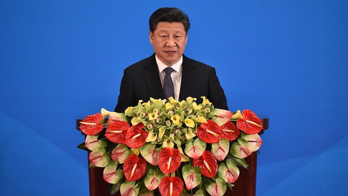 Kinas president Xi Jinping i en talarstol i Peking 2016.