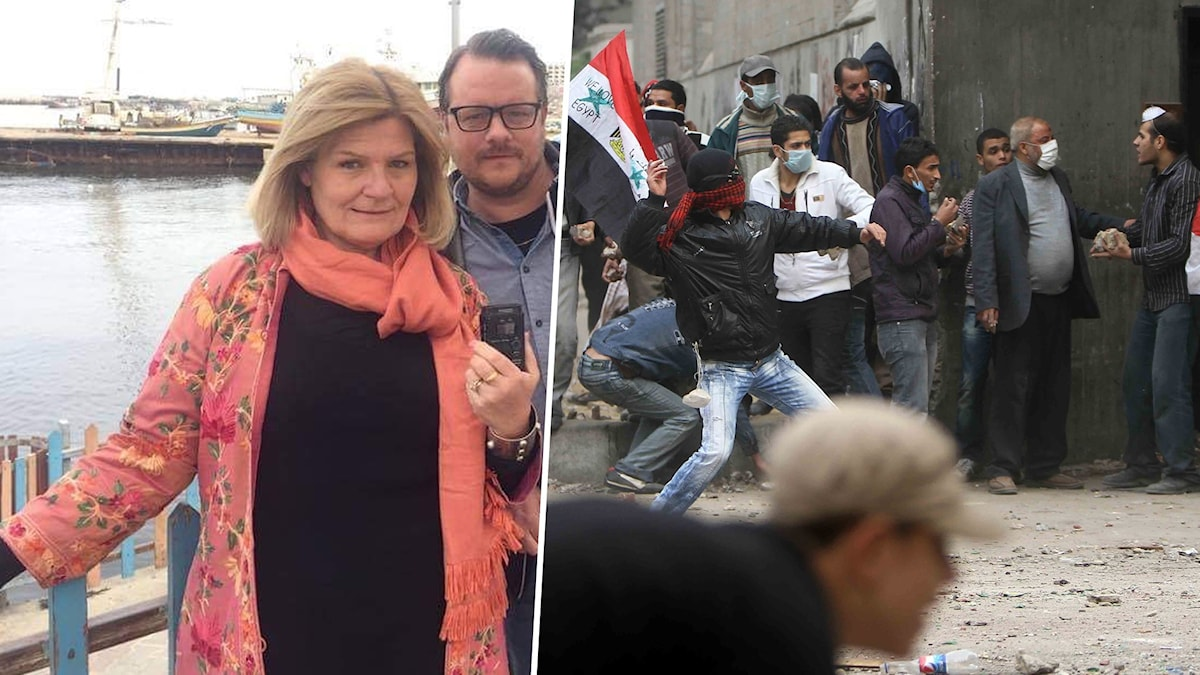 TV: Cecilia Uddén och Johan Mathias Sommarström, Sveriges Radios Mellanösternkorrespondenter. TH: Upplopp på  Tahrirtorget i Kairo i slutet av november 2011.