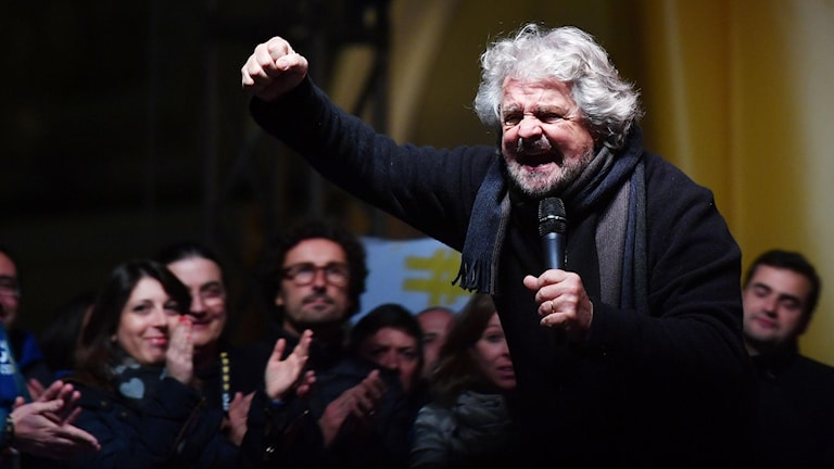 Den italienska Femstjärnerörelsens grundare Beppe Grillo.