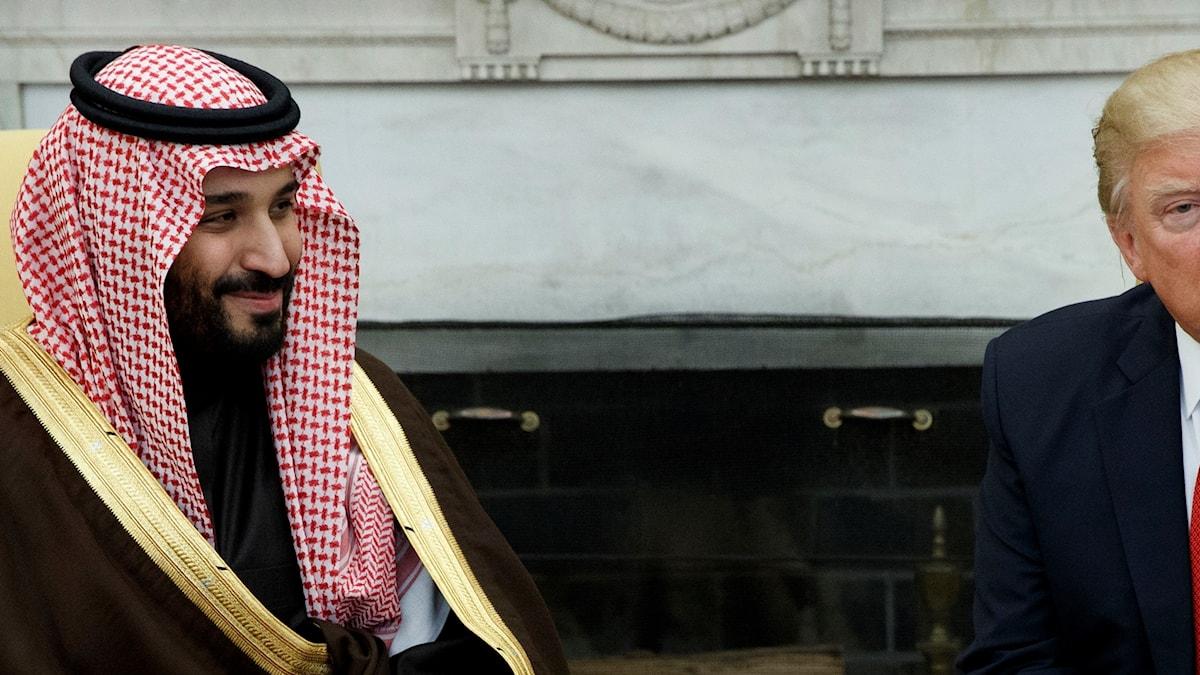 Den saudiska kronprinsen Mohammed bin Salman i möte med Donald Trump i mars 2017.