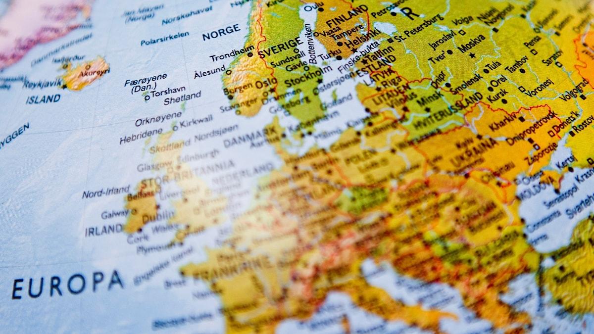 Jordglob inzoomad på Europa