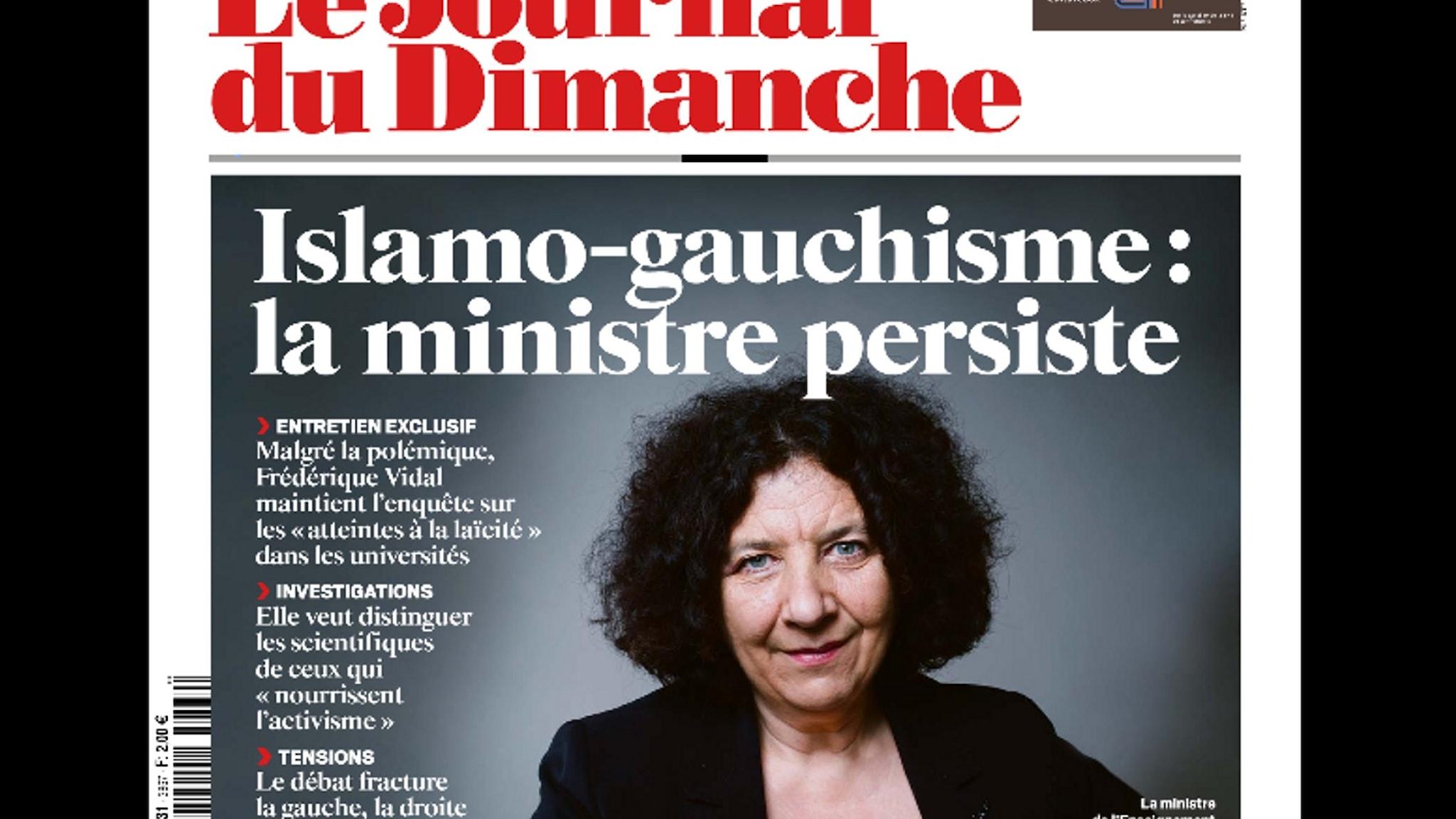 """Förstasida från tidskriften Journal de Dimanche om """"islamo-gauchismen"""" och ministern för högre utbildning, Frédérique Vidal."""
