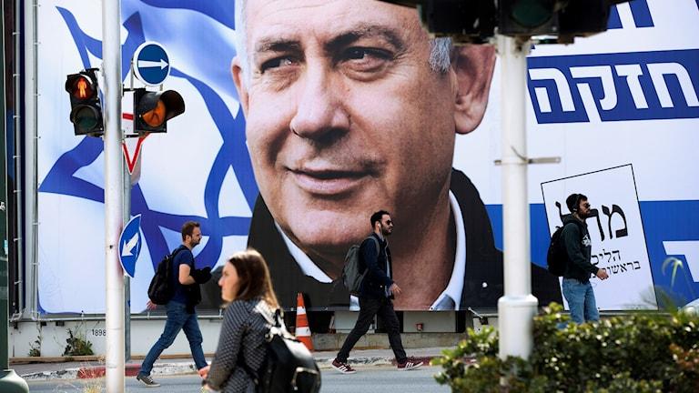 Premiärminister Benjamin Netanyahu på valaffisch.