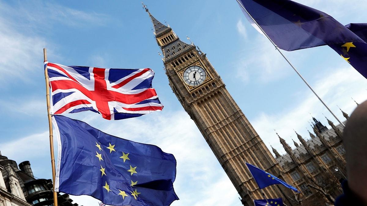 Flaggor vid Big ben under en demonstration i London.