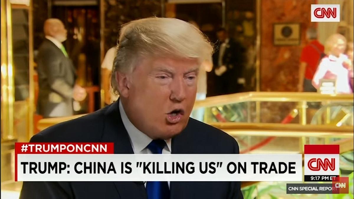 Donald Trump intervjuas om frihandel på CNN.
