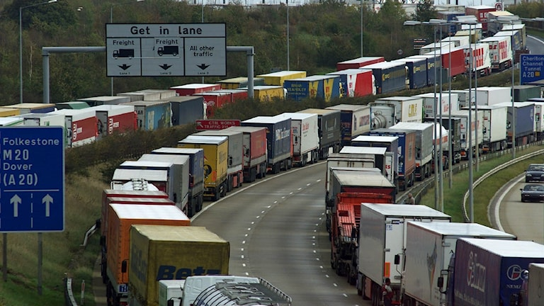Strejkande lastbilar vid Dover.