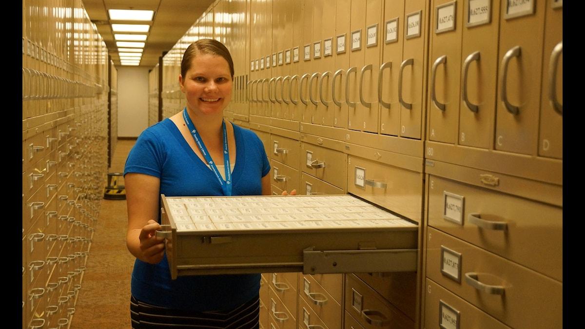 Naomi Newbold är Skandinavienexpert på mormonkyrkans Family History Library i Salt Lake City. (Foto: Urban Björstadius)