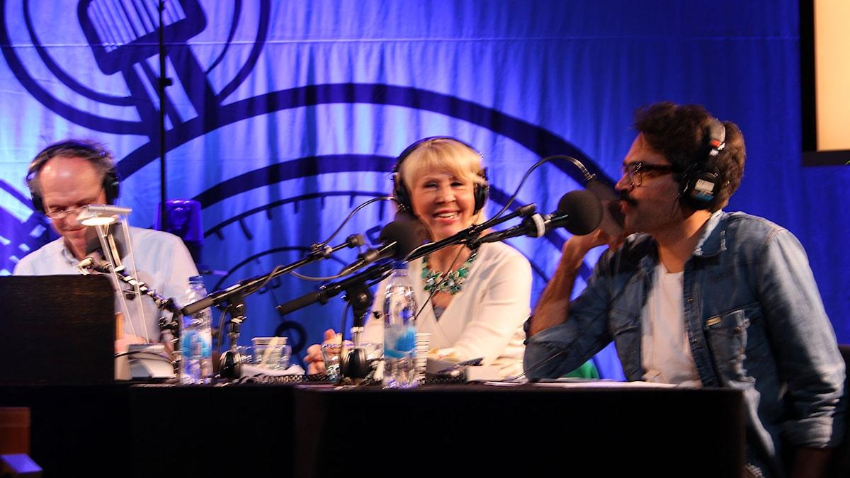 Ingvar Storm, Pia Johansson och David Batra i På minuten. Foto: Stina Ericsson /Sveriges Radio