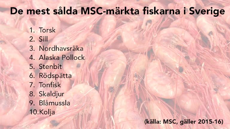 De mest sålda MSC-märkta fiskarna i Sverige