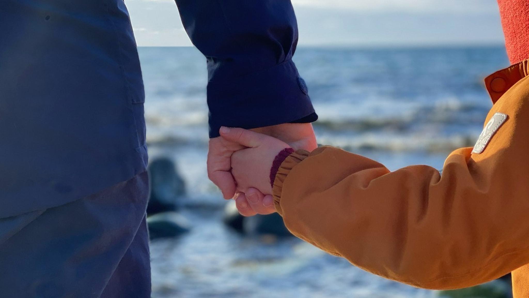 Bild på en person och ett barn som håller hand.