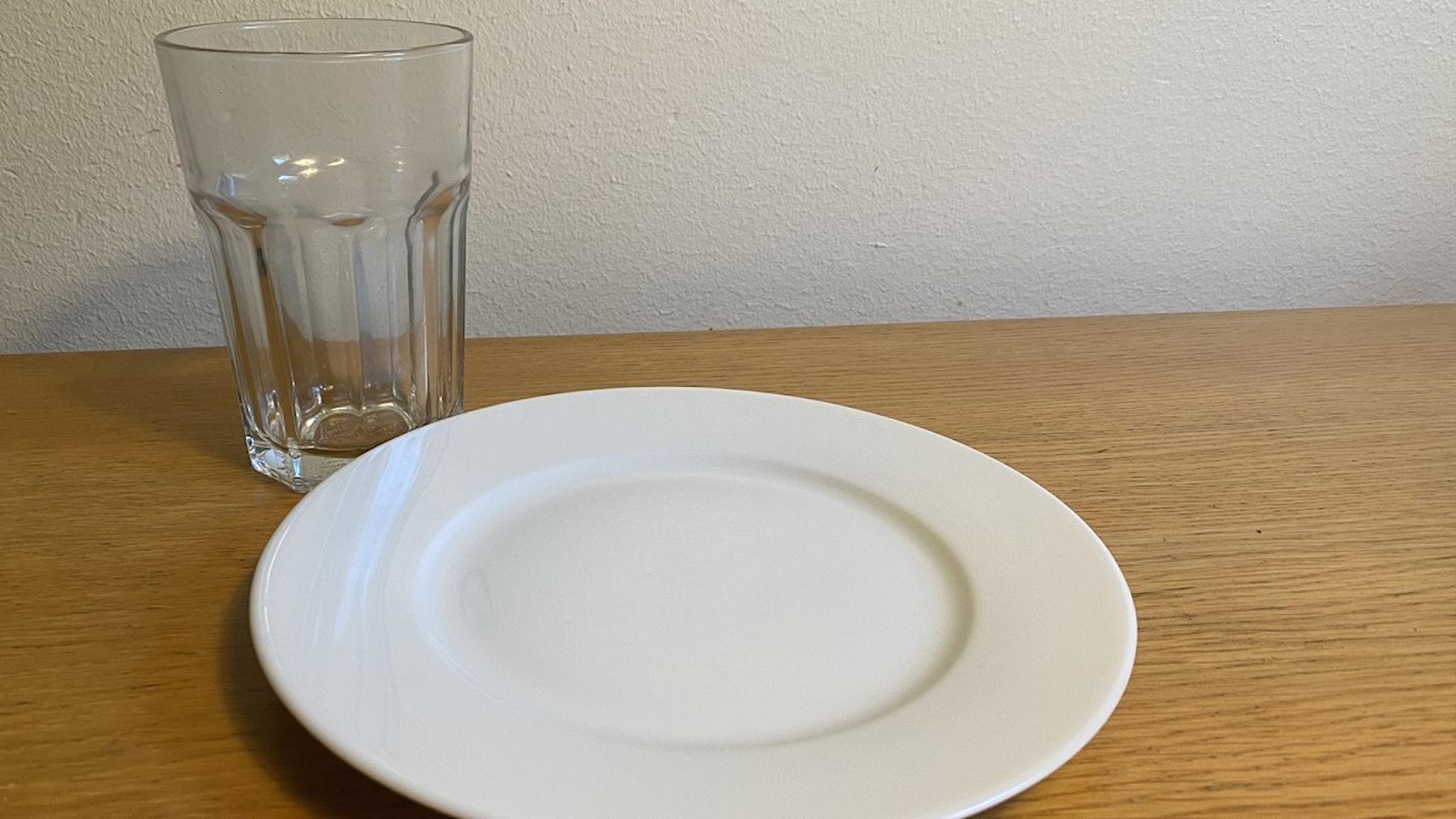 Bild på tallrik och glas