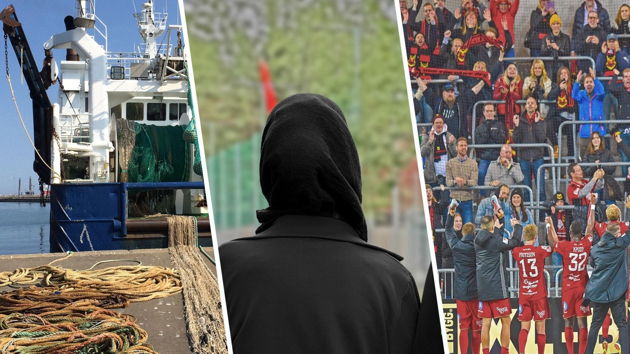 Kollage med en fiskebåt, en person i slöja och Östersunds fotbolls klubb framför en läktare full av människor.