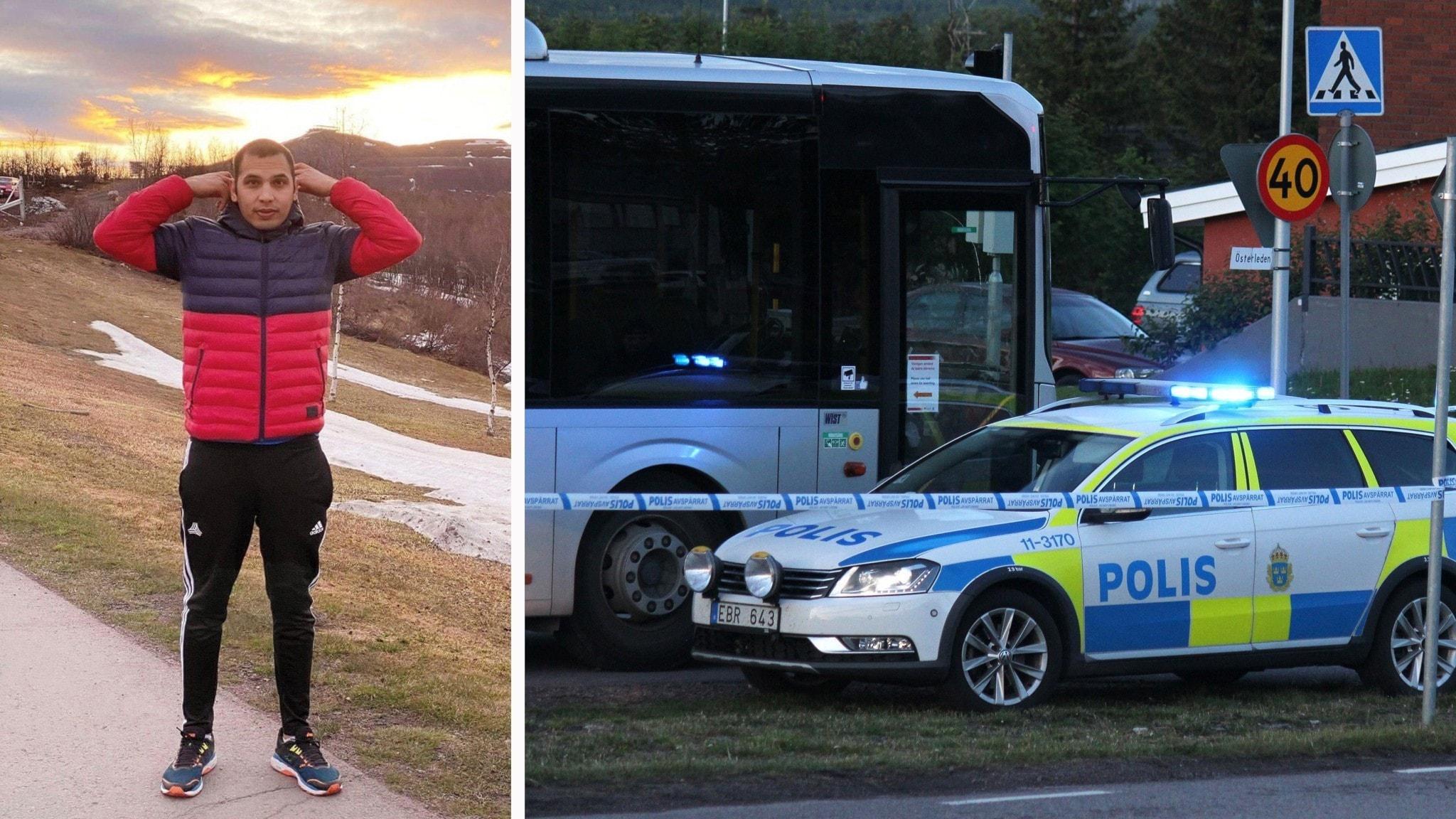 Reza och polisbil