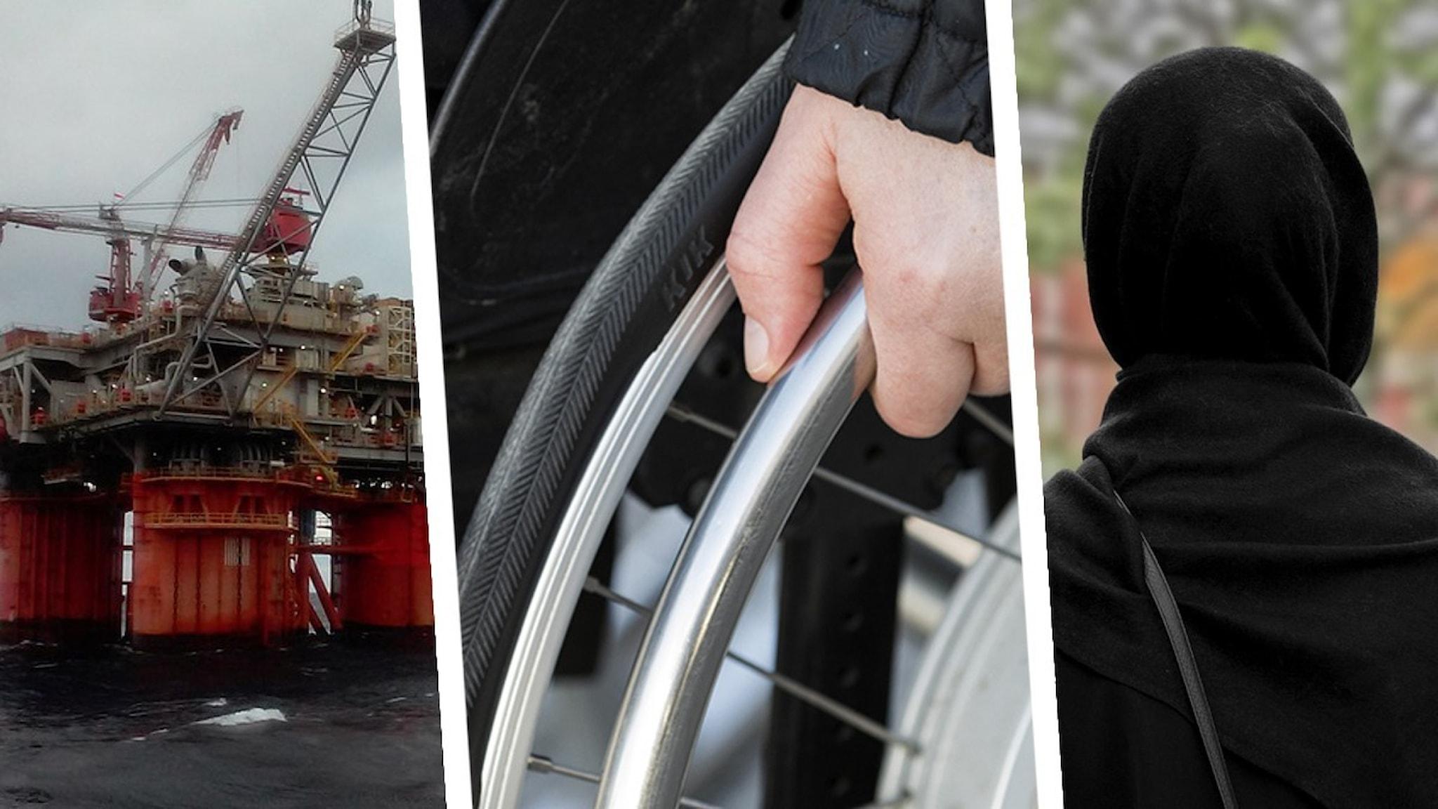 Del av bild på oljeplattform ur granskningen av statliga AP-fondernas innehav, hand på rullstolshjul från en granskning av assistansersättning och silhuett av kvinna från granskningen av en friskola i Göteborg.