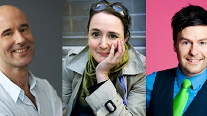 Finska pinnar -språkinformatörerna: Mark Levengood, Johanna Koljonen ja Thomas Lundin. Fotomontage: Sveriges Radio Sisuradio