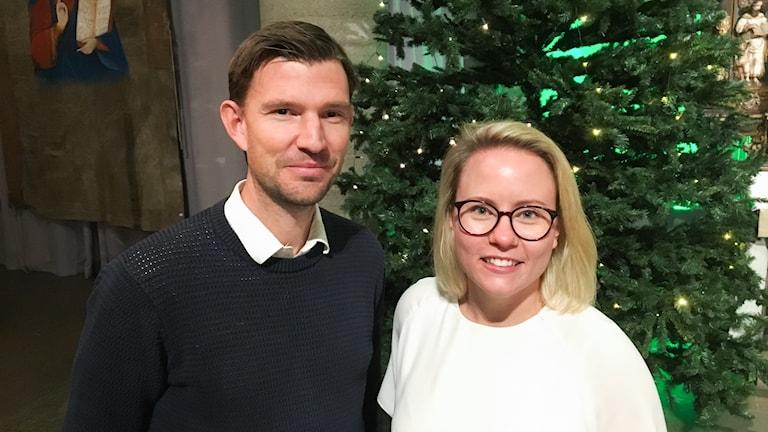 Fredrik Berglund, konstnärlig ledare, och Anna Nilsson, ordförande, Örebro stundentsångare.