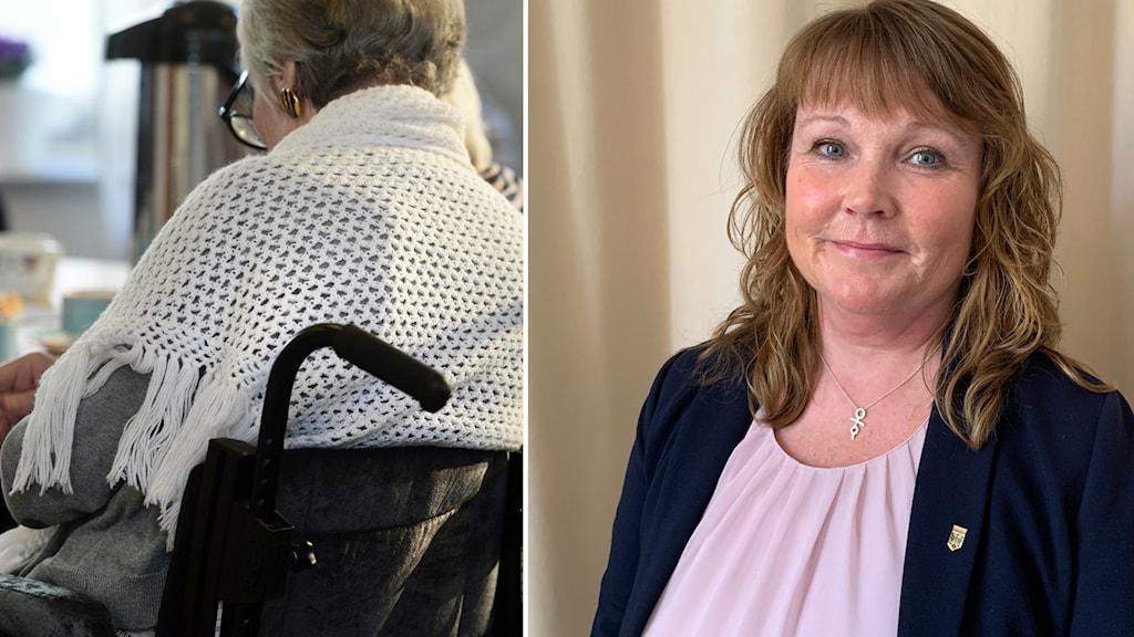 Annika Roman som är förvaltningschef står och tittar in i kameran. På andra bilden syns en äldre dam i rullstol.