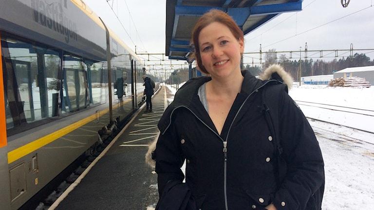 Pendlare på stationen i Laxå