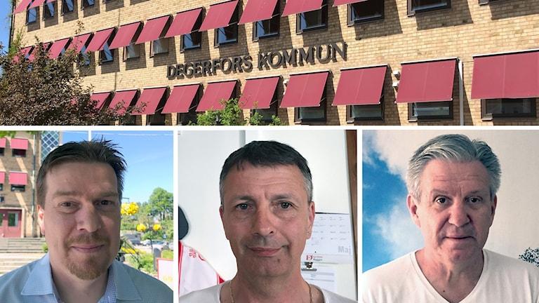 Bildkollage. En övre bild på nämndhuset i Degerfors. Och under den tre ansiktsbilder. Från vänster: Johan Nordström, Muris Beslagic och Peter Pedersen
