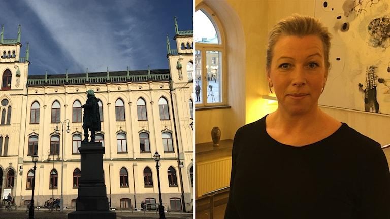 Bildkollage: Örebro kommuns beslut om att häva avtalet. Sofia Persson tillförordnad programdirektör Social Välfärd Örebro kommun