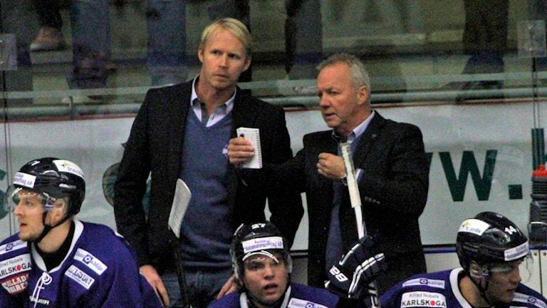 Tränarduon Tobias Thermell Lenny Eriksson i BIK Karlskoga. Arkivbild:Valdemar Andersson/SR Örebro.