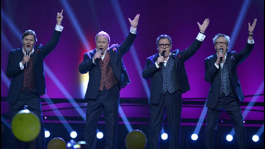 "Örebrolåten ""En riktig jävla schlager"" gick direkt till final i Melodifestivalen. Foto: Janerik Henriksson/Scanpix."
