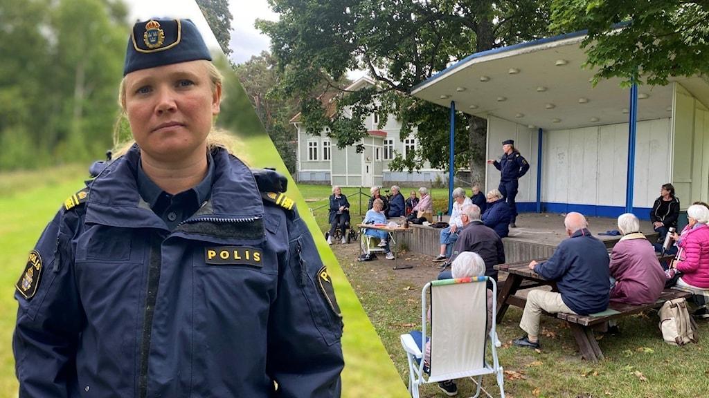 Bild på lokalpolisen Therese Beme till vänster och till höger visas det när Therese Beme pratar på scen till Seniorerna Örebro.