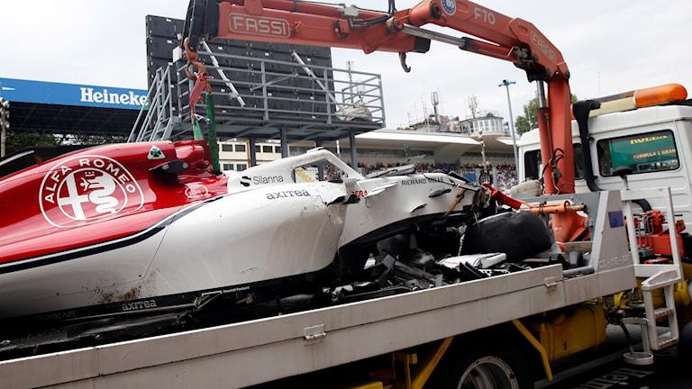 Marcus Ericsson kraschade under sin träning inför tävlingen på italienska Monzabanan i helgen.