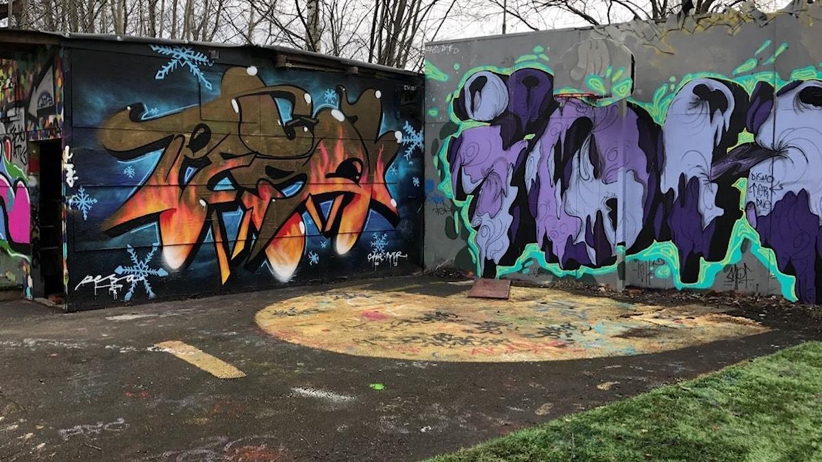 Graffitivägg i Örebro.