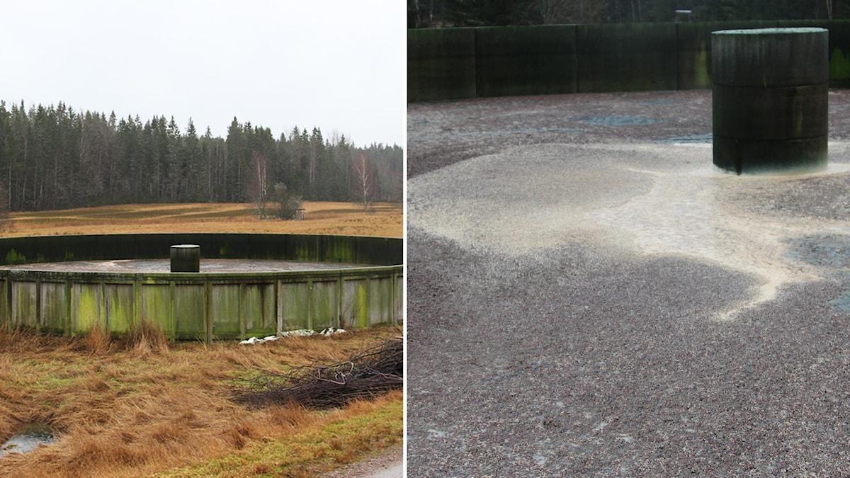 Gödselbrunn utanför Molkom, i den finns spolvatten som innehåller blod, tvättmedel och rester av döda djur.