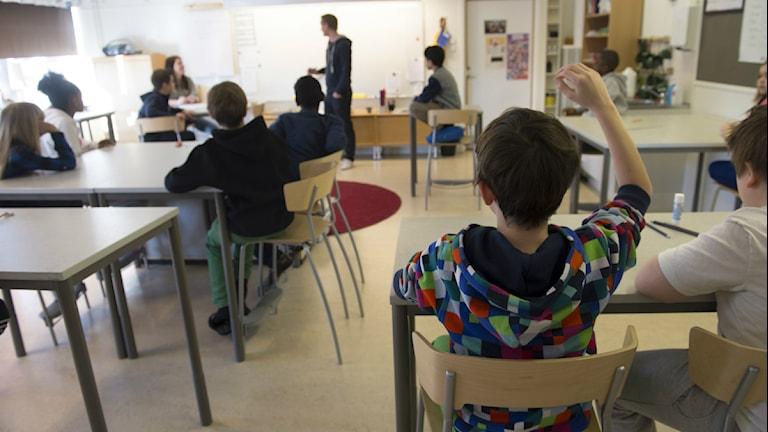Klassrum med elever och lärare. Foto:Nyhetsbyrån TT.