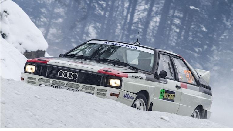 Veteranklassad Audi från Svenska Rallyt. Foto: Micke Fransson /TT.