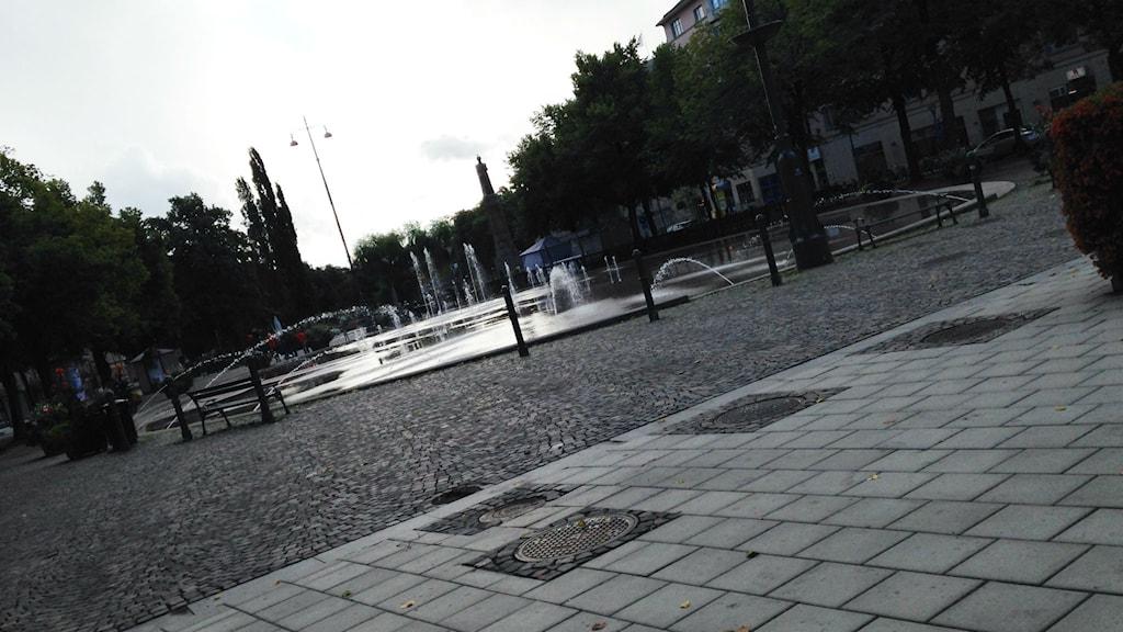 Paviljongen ska byggas vid korsningen Klostergatan/Olaigatan. Foto: Emilie Pless/Sveriges Radio.