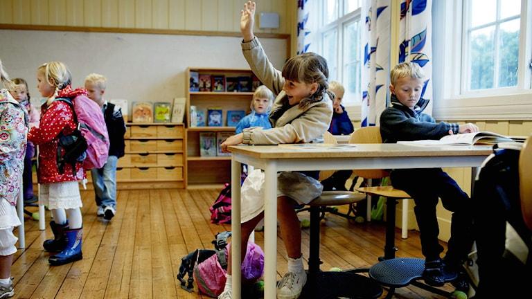 Skolsal med glada elever. Foto TT