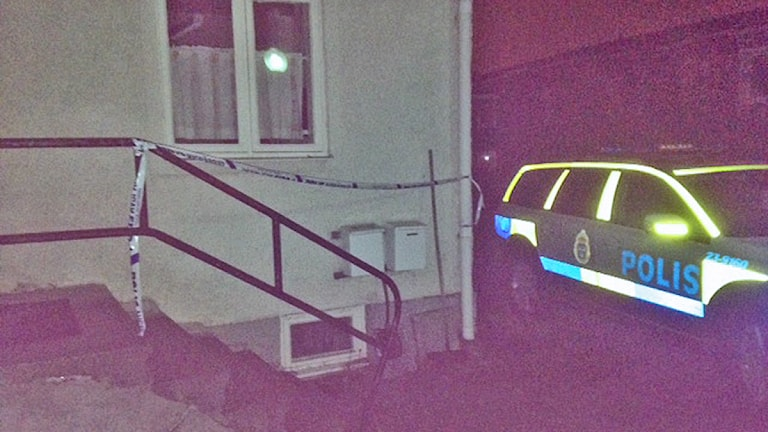 Avspärrat i Almby efter mordet. Foto:Carina Galanou Ipsonius/SR Örebro