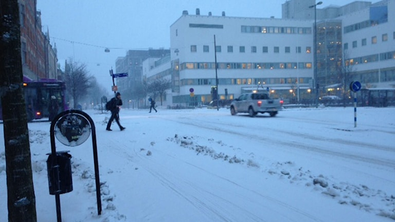 Cykelbana i Örebro vintertid.