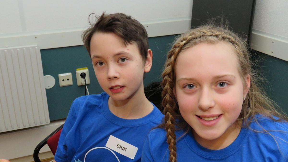 Erik Johansson och Catrine Larsson tävlar för Lillåns Södra skola.