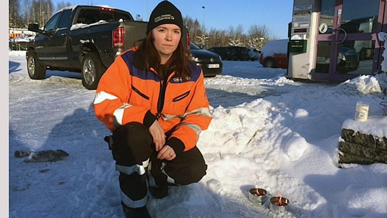 Jennifer Granqvist som tog initiativ till den tysta minuten. Foto: Peter Bjurbo/Sveriges Radio.