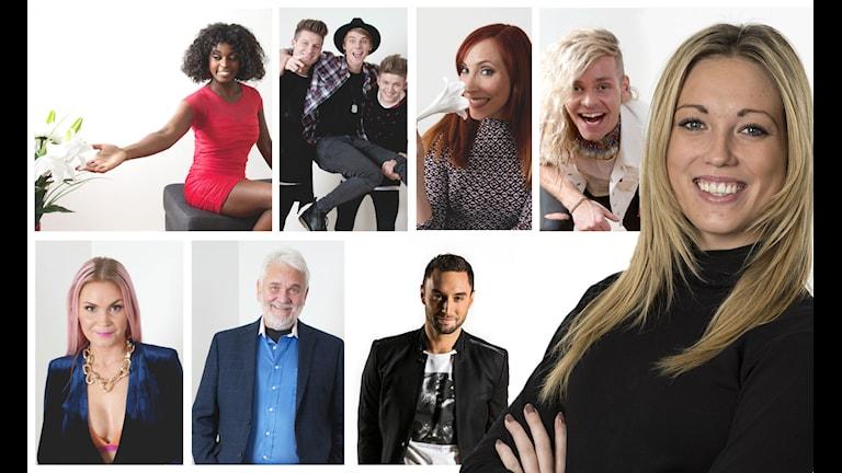 Sveriges Radios Olivia J Berntsson tillsammans med artisterna från Melodifestivalens deltävling i Örebro. Foto: Sveriges Radio.