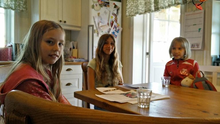 Klara, 8 år, Tuva, 12 år och Vera, 8 år, från Fjugesta ingår i en testgrupp som STF, Svenska Turistföreningen, tagit fram för att kolla hur barnen upplever fjällen.  Foto: Jens Tisbo/Sveriges Radio