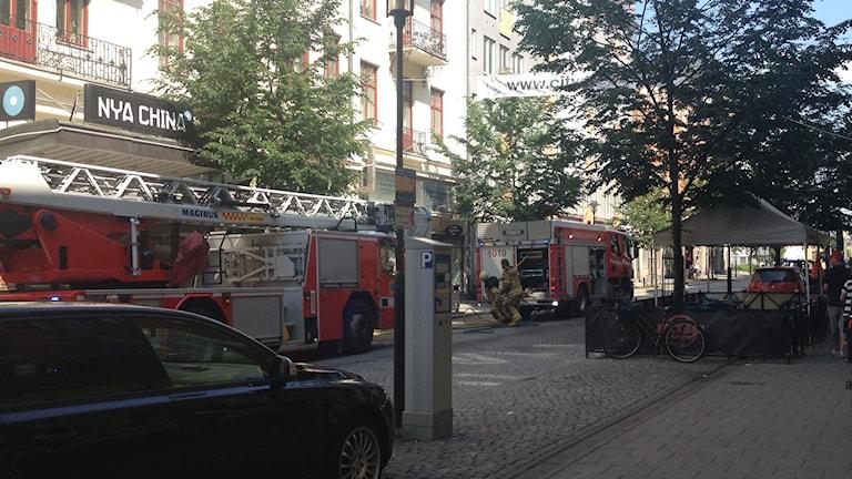 Mindre brand på Storgatan i Örebro. Foto: Janne Larsson