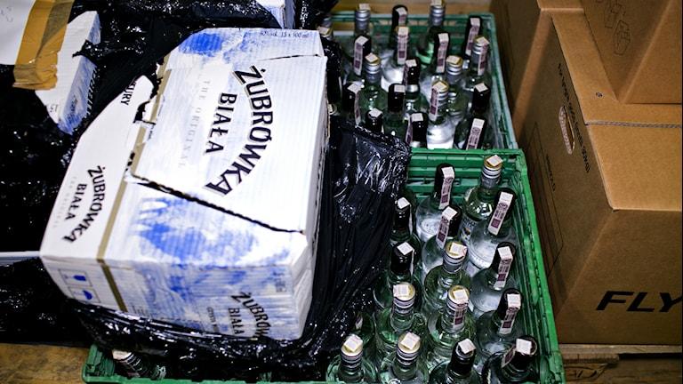 Arkivbild. Beslagtagen alkohol. Foto:TT