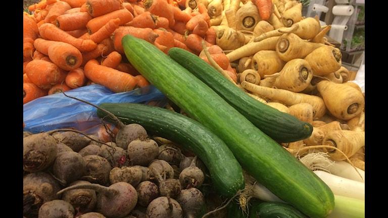 Grönsaker i olika former och storlekar. Foto: Anna Björndahl/Sveriges Radio.