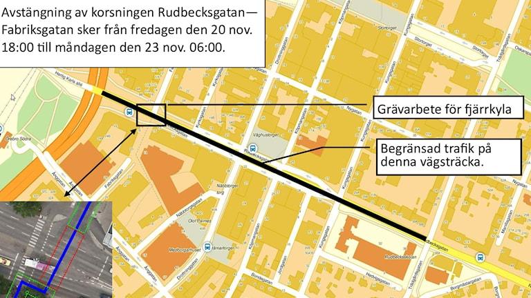 Avstängning karta fjärrkyla Örebro Eon