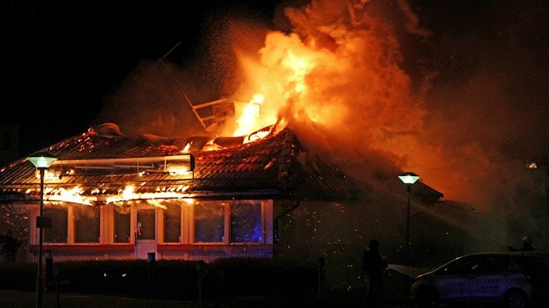 Hamurgerresturangen på Väster blev totalförstörd i branden. Foto:Peter Forslund.