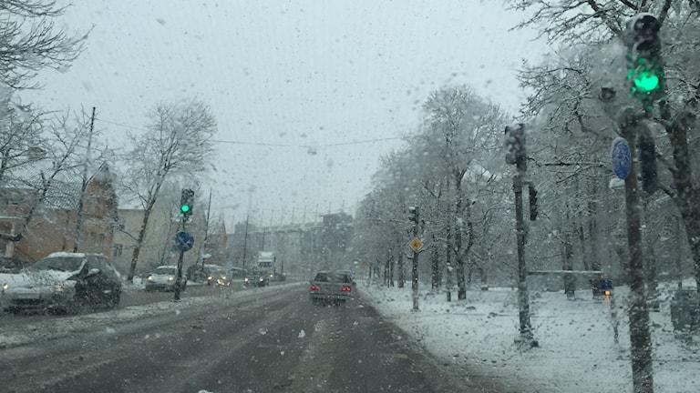 Rudbecksgtan i Örebro snöfall gata