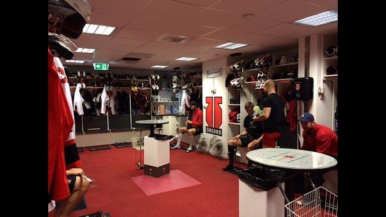 Örebro Hockeys omklädningsrum.