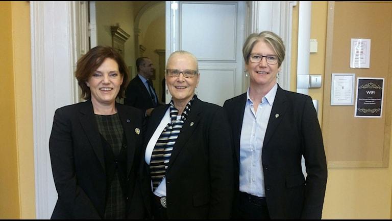 Tre kvinnor i Svenska Fotbollförbundets styrelse. Annika Grälls, Rose-Marie Frebran och Annelie Larsson.