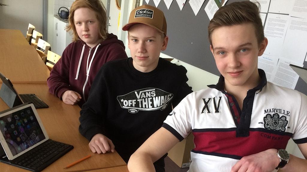 Anton Gräntz, Lukas Johansson och Sebastian Fröjd.