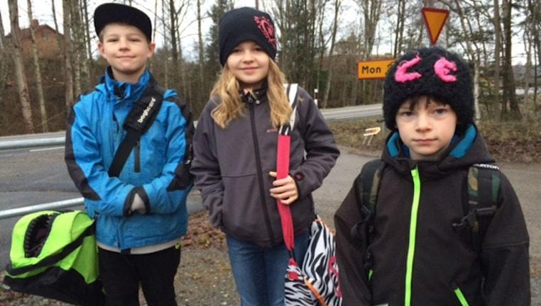Daniel, Olivia och Karl Engdahl i Stora Forsa.